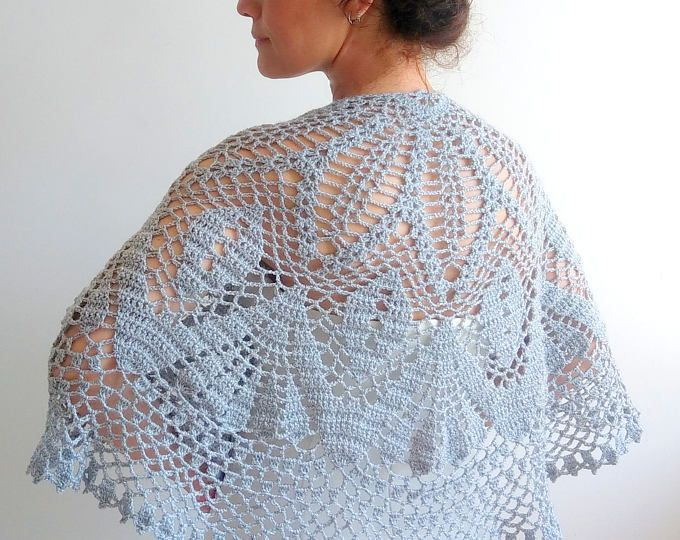 Gris capa nupcial crochet estola, capa de plata, cabo de calacy, gris del cabo de la boda, gris abrigo gris encogiéndose de hombros, envío rápido, listo para enviar