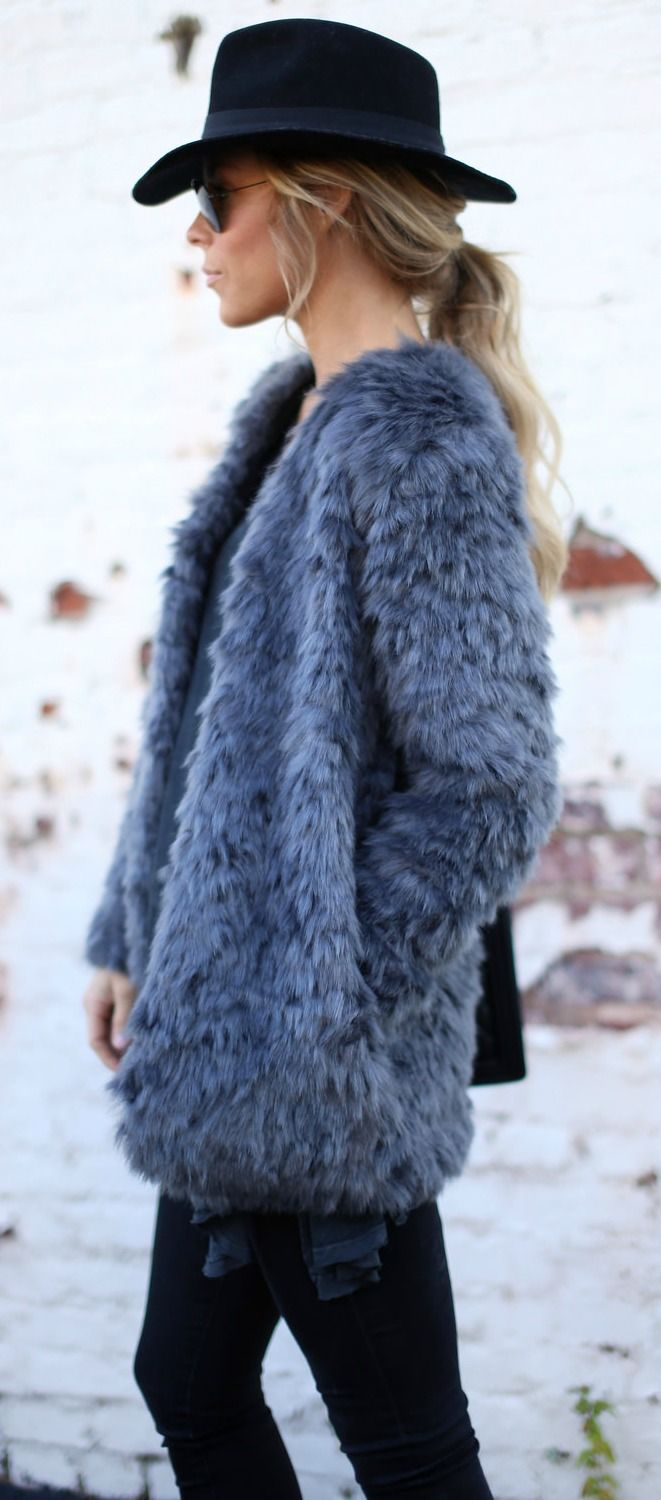 Dark grey faux fur coat.