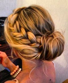 Bun with a braid tucked into it (maybe to hold your bangs back?)