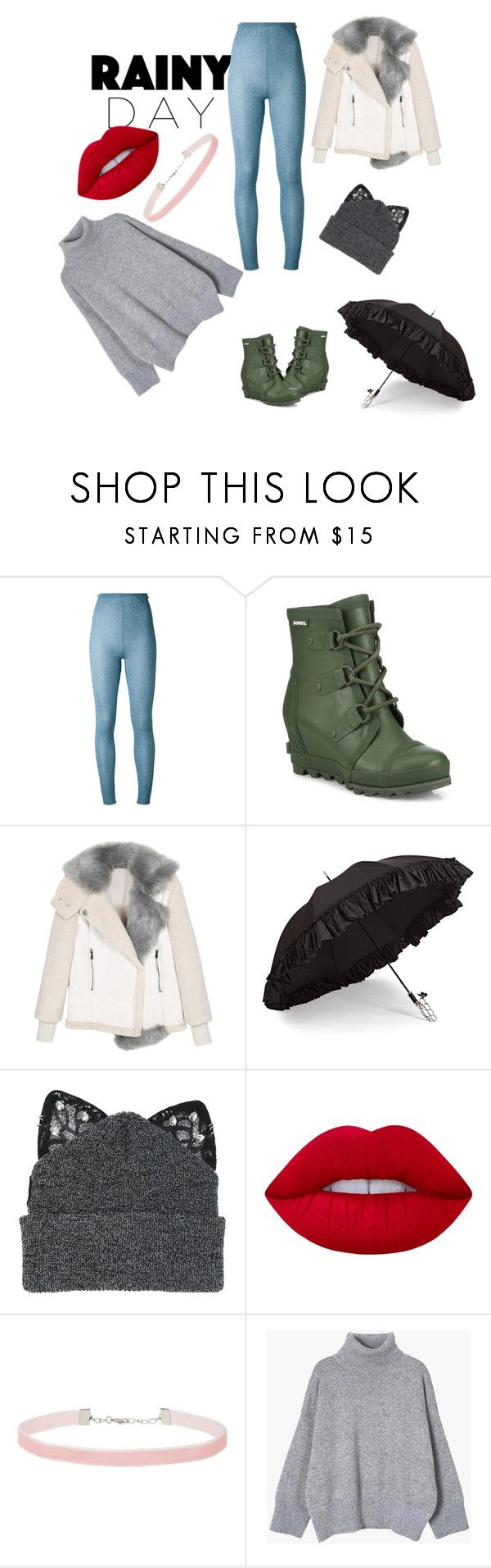 """""""Rainy day"""" by nicole-redhaired ❤ liked on Polyvore featuring Melampo, SOREL, Gizelle Renee, Silver Spoon Attire, Lime Crime and Miss Selfridge"""