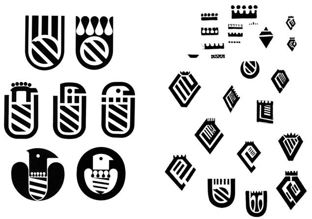 Progettazione dello stemma del Comune di Urbino, progetto Albe Steiner, 1968.