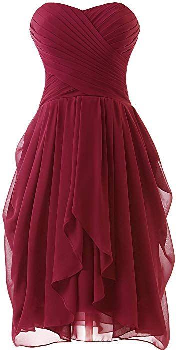 Huini Hochzeitskleider Damen Chiffon Brautjungfernkleider Kurz Abendkleider Ballkleider Partykleider Abschl Abendkleid Abschlussball Kleider Abschlussballkleid