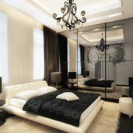 Bedroom : Cool bedroom for men design come with cream bed feature white bed cover and black blanket also white pillows also black fabric curtain as well as fury rug and black wooden cabinet - Awesome Bedroom Design for Men