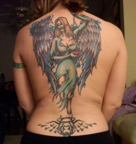 anioł, anielica na plecach tatuaże