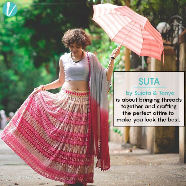 Suta by sujata and tanya line is all about their impeccable collection of western wear,  scarves, lehangas, classy sarees & more.