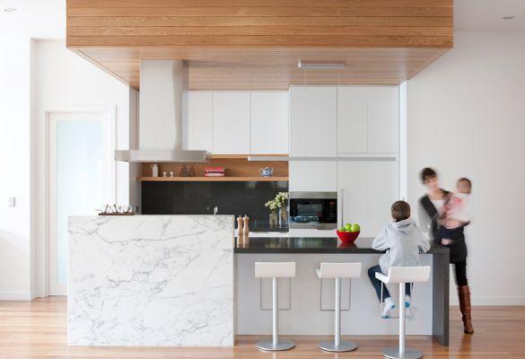 oak veneers, marble slabs + stone benchtops --- Enoki / Interior ---