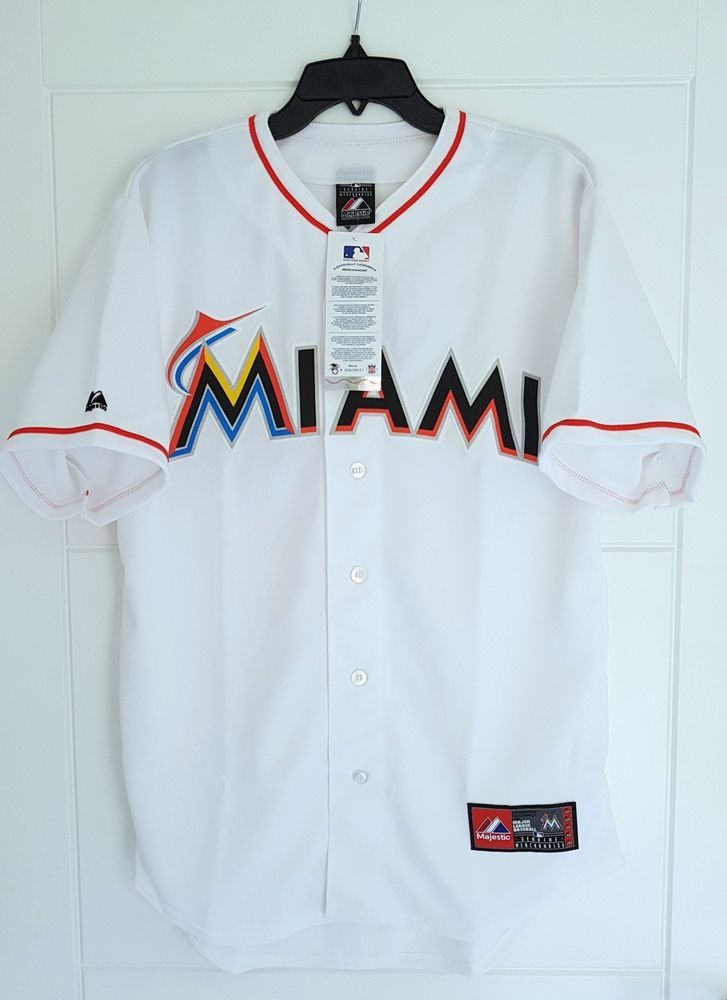 d3390b9a MAJESTIC MIAMI MARLINS MLB Official Baseball Jersey Shirt Authentic Men's  Large #Majestic