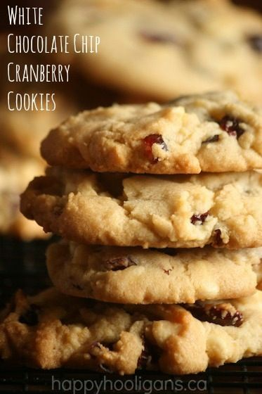 White Chocolate Chip and Cranberry cookies.  These remind me of Starbucks' Cranberry Bliss Bars! - Happy Hooligans