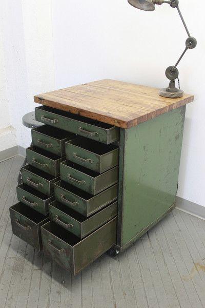 Meuble d'atelier, meuble industriel, brocante, déco vintage brocante, décoration industrielle, tabouret industriel