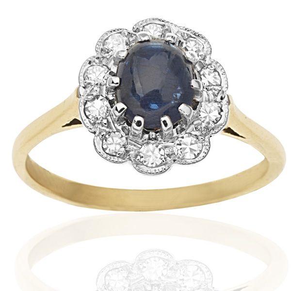 Cabochon Cut Sapphire & Diamond Daisy Ring