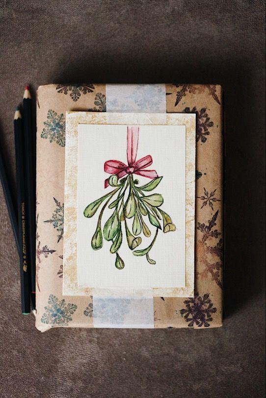 DIY Watercolor postcard. Gift pack