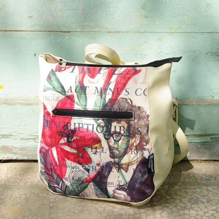 "Backpack ""The Last Tango"" A bag that captures the passion and love, created especially for romantic souls. It will accompany you to your travels to dreamlike worlds. An adorable collage on beige background, with interference from bright red and full of warmth green."