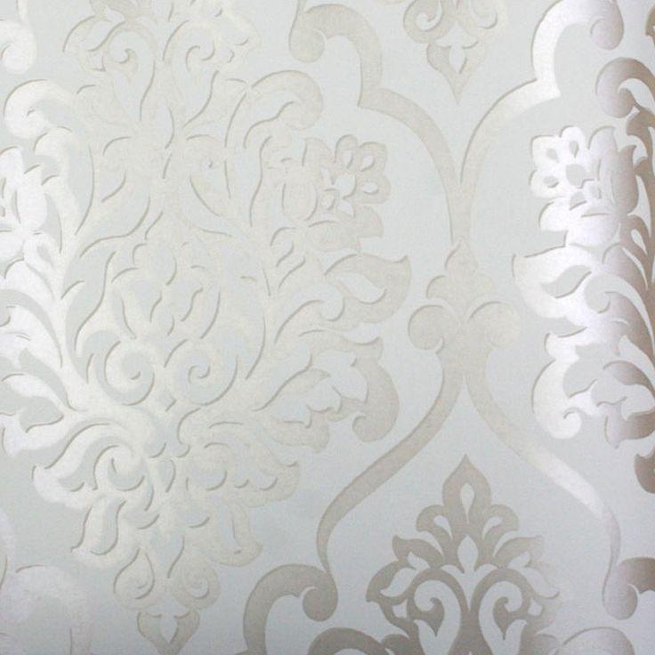 mood living nino silver and white damask wallpaper. Black Bedroom Furniture Sets. Home Design Ideas