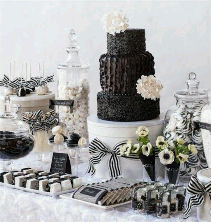 black white dessert table
