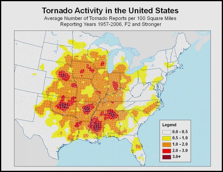 Tornado Map Avg Per 100 Disastersafety-4-out-tornado Map Avg Per 100 Disastersafety