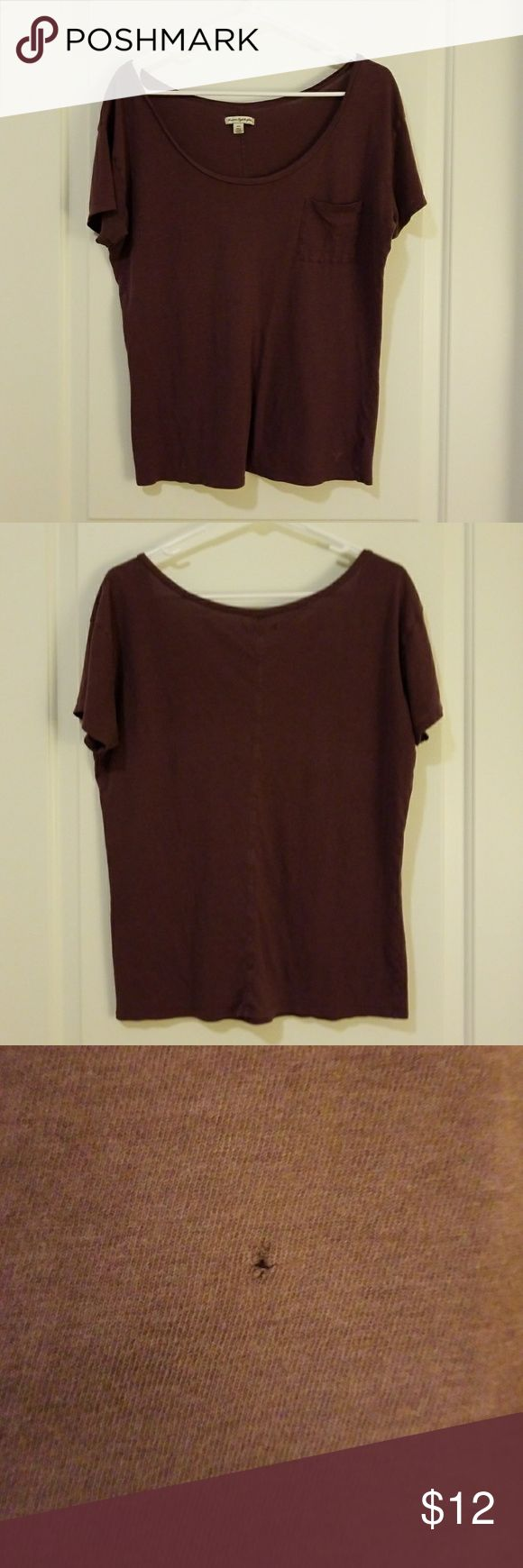 Purple Boatneck Tee Purple boat neck short sleeve tee with chest pockets, Size M, used, small hole near bottom (pictured)  3 for $12 DEAL: Bundle any 3 items priced at $12 in my closet and Offer $12. American Eagle Outfitters Tops Tees - Short Sleeve