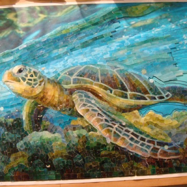By Mia tavonatti. Mosaic turtle underwater scene..so detailed!