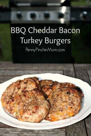 Juicy Turkey-Cheddar Burgers Recipe — Dishmaps