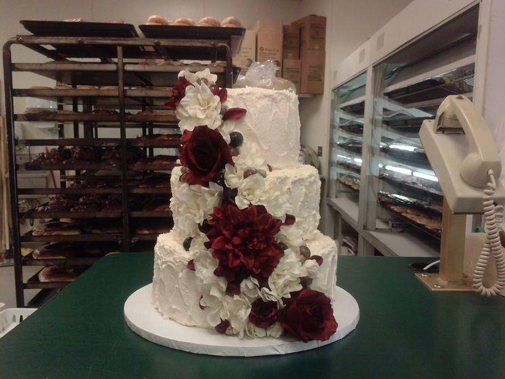 Burgundy And Ivory Wedding Cake