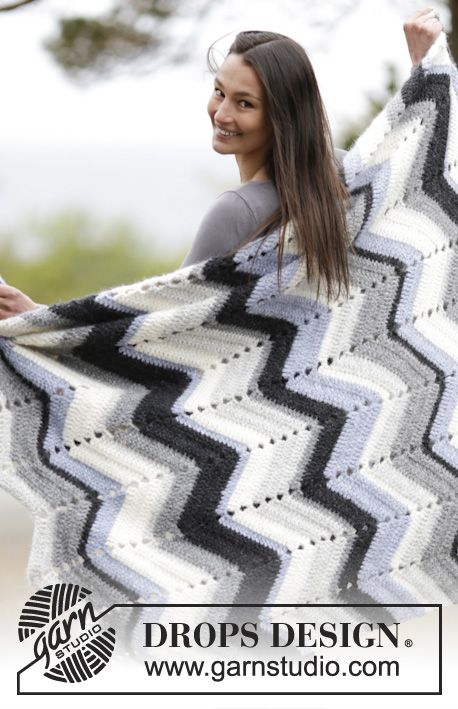 "Snowy Field - Crochet blanket with zig-zags in ""Air"". ~ DROPS Design Free Pattern. Chevron ripple blanket."