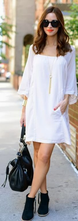 White Dress. Black Booties ... Always check the web portal for 5 wonderful looks by using a majority of these appealing white dress check http://topfashiondesigners.us/5-perfect-looks-with-white-dress/
