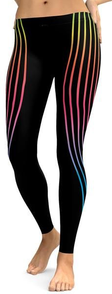 ON SALE! Neon is a noble gas which gives off a popular orange light, but other gases and chemicals are used to produce other colors, such as hydrogen (red), helium (yellow), carbon dioxide (white), and mercury (blue). Our designer created these Vertical Neon Stripes Leggings were the stripes are not made out of gas, so don't worry we just used the bright neon colors.Vertical Neon Stripes Leggings / Yoga Pants From Gear Bunch.