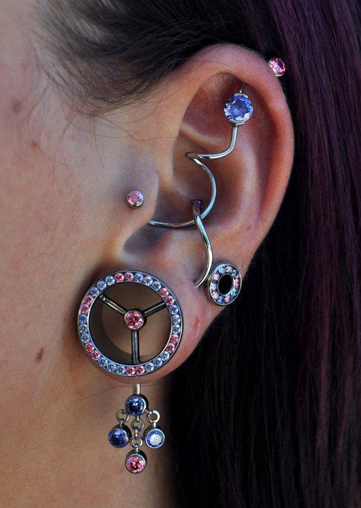 Piercings, ear tunnel with crystals, super industrial # ...