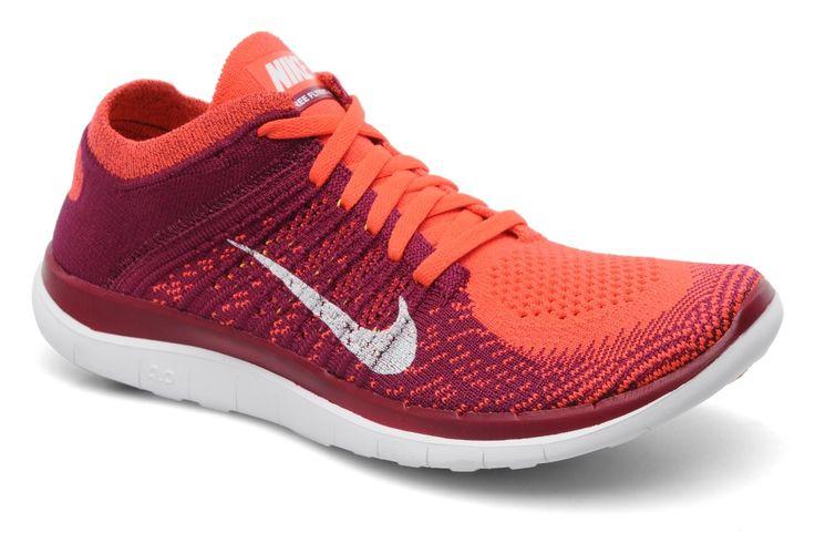 Nike Free 4.0 Flyknit Damen Laufschuh Leuchtend Karminroten Weiß Himbeerrot Laser Orange Kaufen Günstig