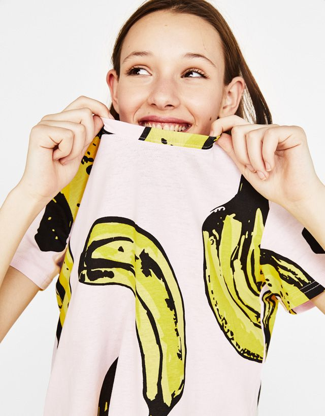 Ecologically grown cotton T-shirt - Bershka  fashion  product  pink  rosa   trend  trendy  cool  girl  girly  outfit  style  tshirt  tee  bananas   camiseta   ... d8a321337fc