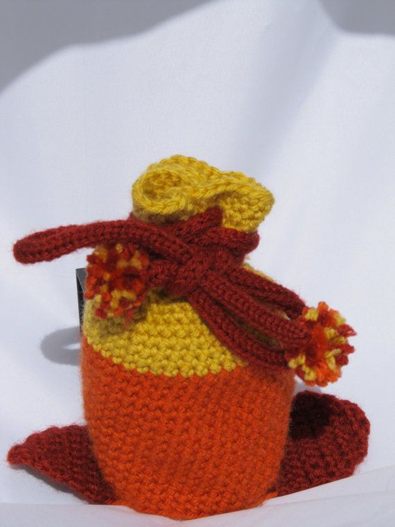 Dice Bag Drawstring Firefly Crochet Custom Made Orange and Yellow Gaming Dungeons and Dragons RPG Role Playing Dice Game