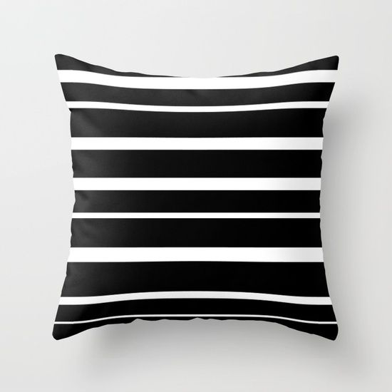 Black and White Stripes Throw Pillow by Bravely Optimistic | Society6