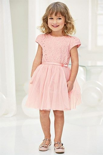 Girls Clothing Online | Clothes for Girls 3 Months to 6 Years - Next Pink Lace Party Dress (3mths-6yrs)