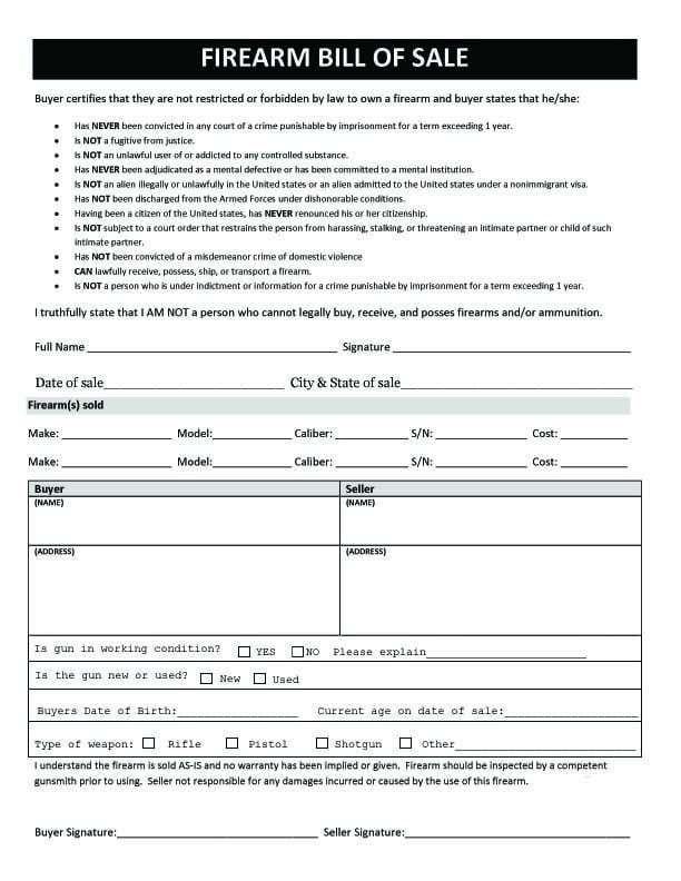 firearm bill of sale 5 Templates