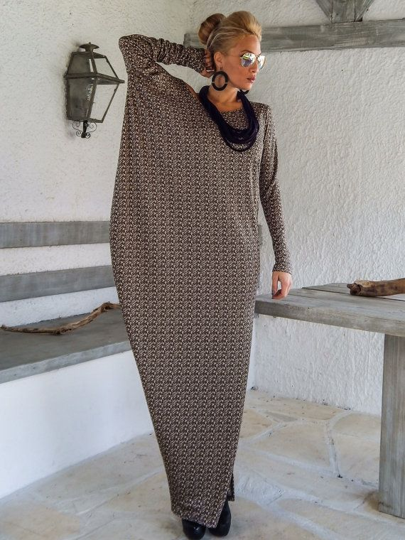 Fall Winter Knitted Asymmetric Maxi Dress Kaftan /  Winter Warm Long Dress / Asymmetric Plus Size Dress / Oversize Loose Dress / #35147