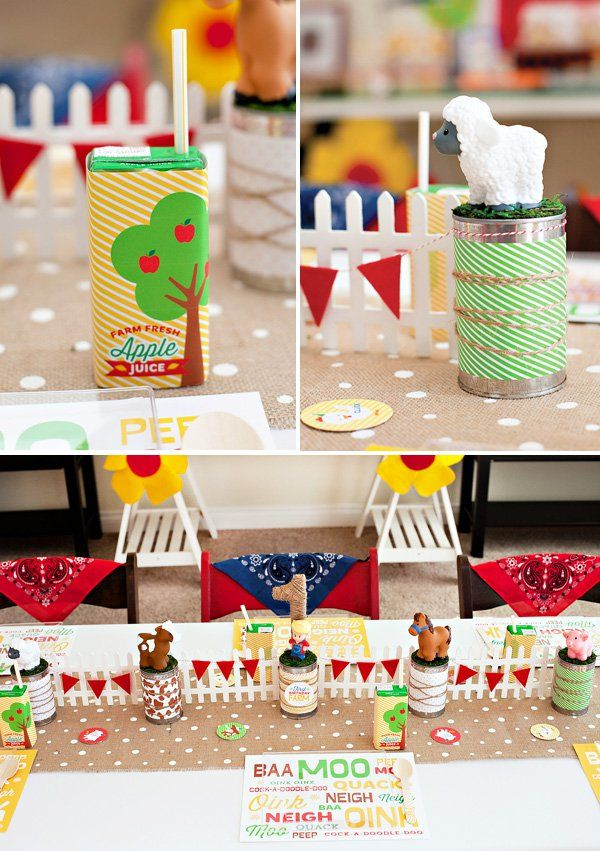Farm 1st Birthday Party – Part 1 {Kids Lunch Table, Drink Station & Smash Cake}