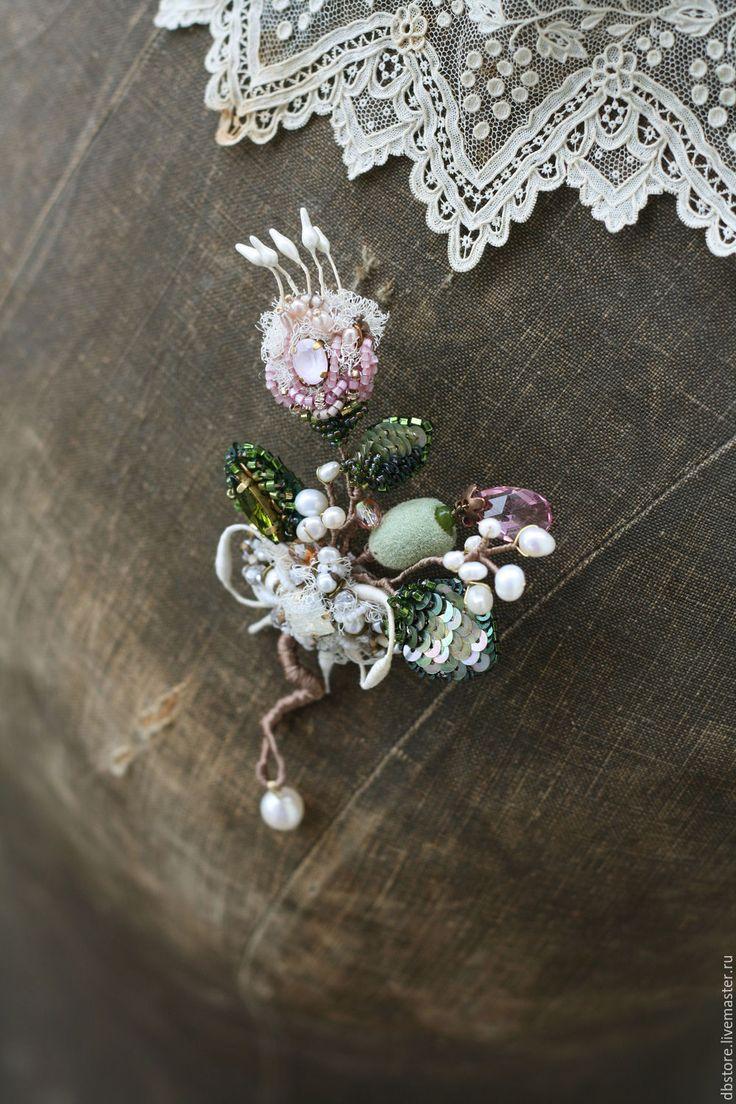 """Купить Брошь """"Майский букет"""" - бледно-розовый, необычное украшение, брошь ручной работы"""