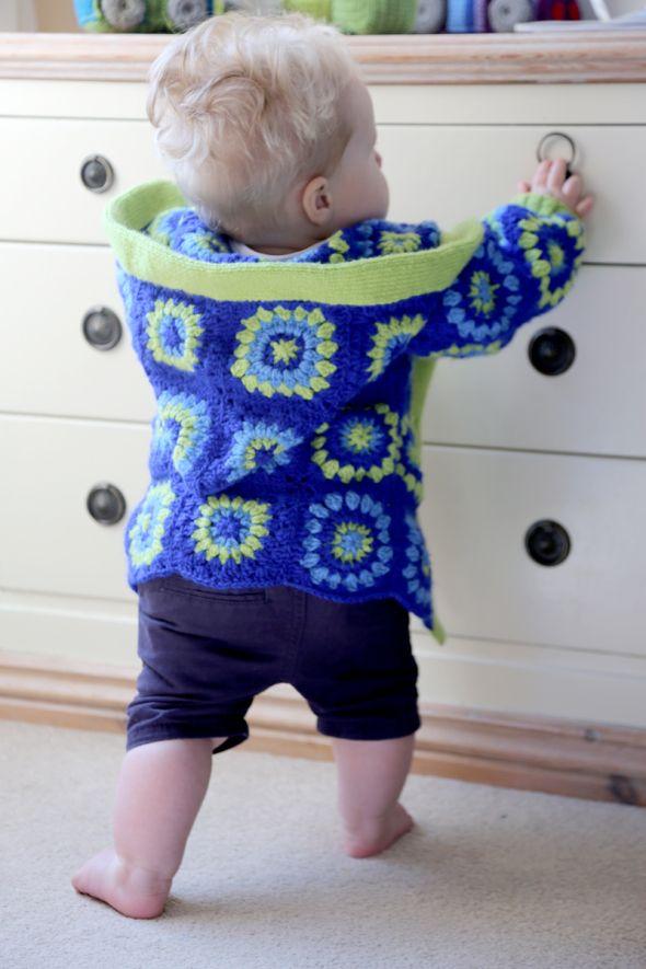 child's granny squares jacket, free pattern, 12-18 months, #haken, gratis patroon (Engels), baby, vest, 12-18 maanden, #haakpatroon