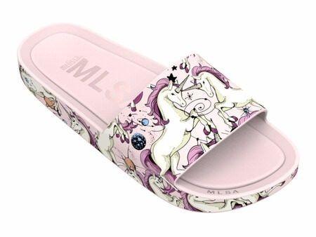 meet d158c 3c3ed melissa beach slide 3db rainbow unicórnio rosa bege x32389  slidesshoes  Mundo Unicornio, Sandalias