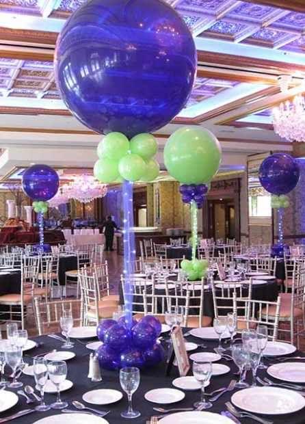 Purple & Lime Balloon Centerpiece