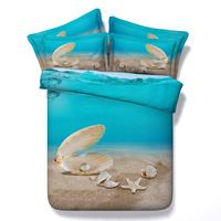 Luxury Shell Starfish and Sand 3D Printed 4pcs Duvet Cover SetsCotton Bedding sets Twin Super king size Cotton Bedlinen Bed sets