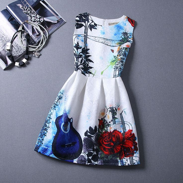 2016 New Summer Dresses For Girls Floral Printed Sleeveless Formal Girl Dress Teenagers Party Costume Baby Clothes Free Shipping-in Dresses from Mother & Kids on Aliexpress.com | Alibaba Group