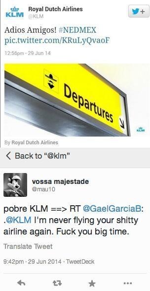 KLM dacht na winst NL op Mexico grappig te tweeten, maar Mexicanen konden er niet om lachen... IK WEL !!! http://www.adformatie.nl/nieuws/klm-verwijdert-social-media-inhaker-na-kritiek-mexicanen#sthash.U63nN8ow.dpuf… pic.twitter.com/Fry7gqPtCu