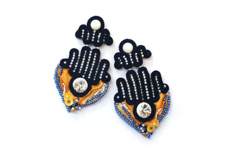 soutache with shibori ribbon earring