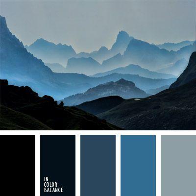 azul grisáceo, azul oscuro pastel, azul plateado, celeste grisáceo, color azul tejano, color azul turquí, color metálico, color montaña oscura, color niebla en montaña, color rosa, matices del azul oscuro, matices del garzo, negro, paleta del color azul oscuro monocromática.