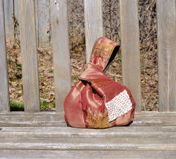 Japanese Knot Bag/Wristlet/ Japanese Boro by RebirthRecycling, $33.00
