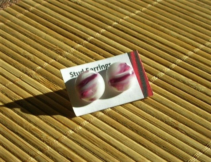 Pink Purple White Marble Fused Glass Stud Earrings by DingolayFusedGlass on Etsy