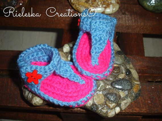 PDF Crochet pattern -baby girl sandals /size 0-3 months  Be altered for an older child changing the hook size.  Price is for the PATTERN only, not the