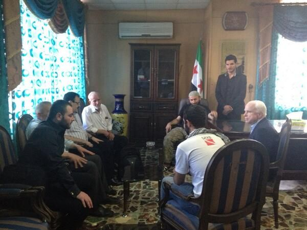 McCAIN SAID TODAY ON NEIL CAVUTO RAND PAUL WAS LYING -- PICTURES DON'T LIE - 2013 -- John McCain slips into Syria to meet rebels - John McCain slipped into Syria to meet with rebel leaders and listen to their calls for US airstrikes against the Assad regime and its Hizbollah allies. - Telegraph