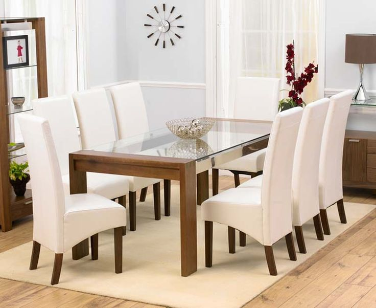Enhance Your Dining Room With The Arturo Walnut Glass Top Dining Table Set  Launched By FurnitureInFashion