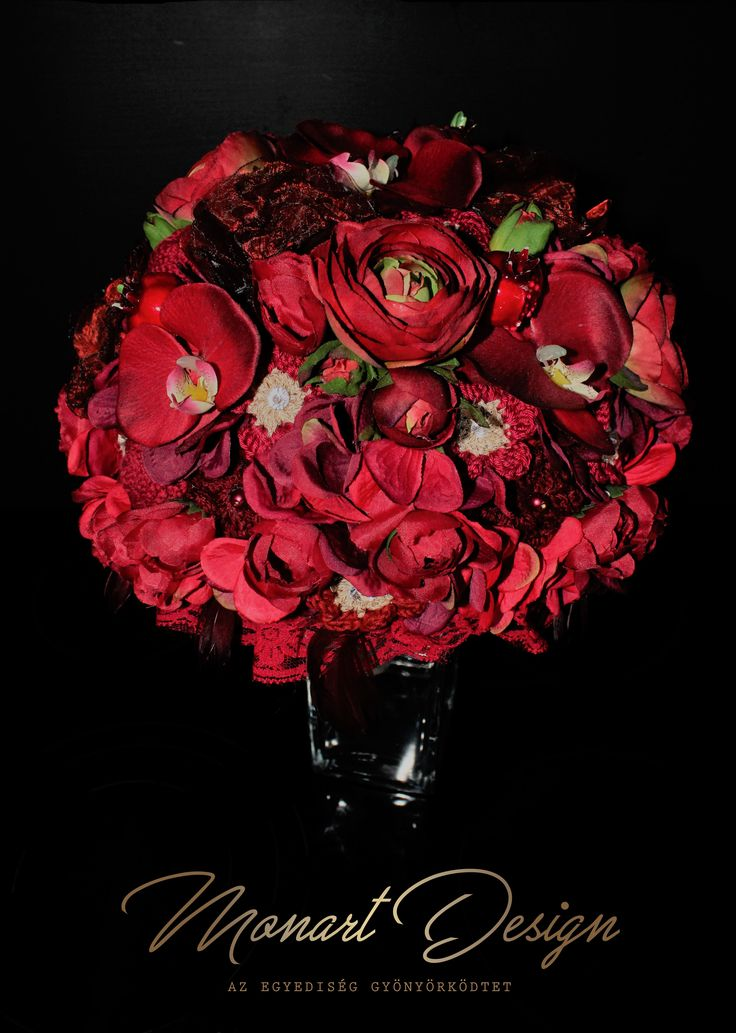 Red wedding, artificial bouqet, menyasszonyi csokor www.monartdesing.hu